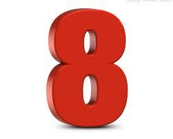 chiffre 8 en couleur rouge