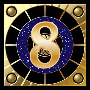 la couleur or du chiffre 8